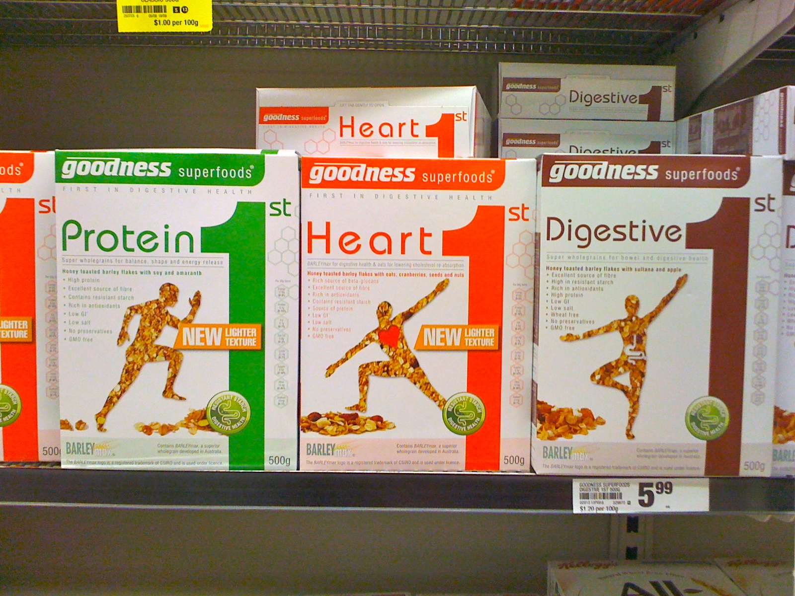 Goodness Superfoods range of BARLEYmax containing cereals with resistant starch