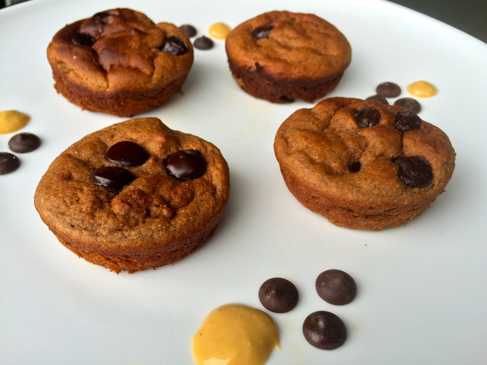 high protein choc chip banana muffin gluten free no added sugar